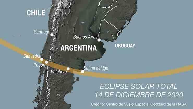 El eclipse de sol será visible en una pequeña franja de 90 kilómetros de ancho (NASA).