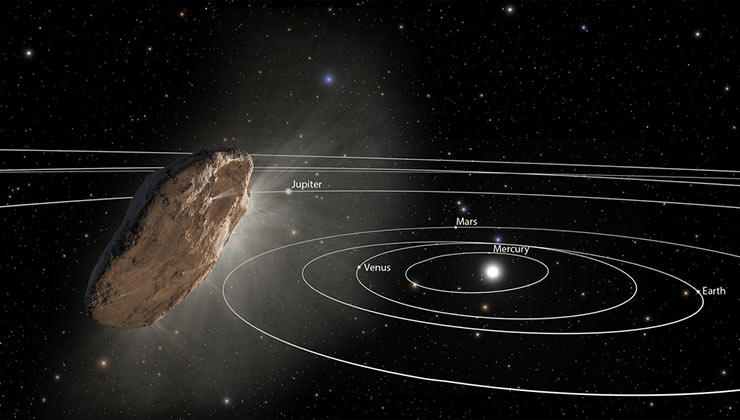Esta ilustración recrea el paso de Oumuamua por el sistema solar (Foto de nasa.gov).