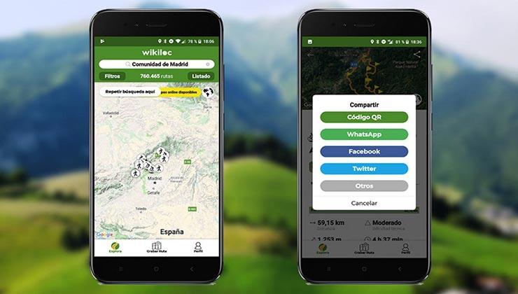 Wikiloc es una aplicación para salir a recorrer la naturaleza (Wikiloc.com).