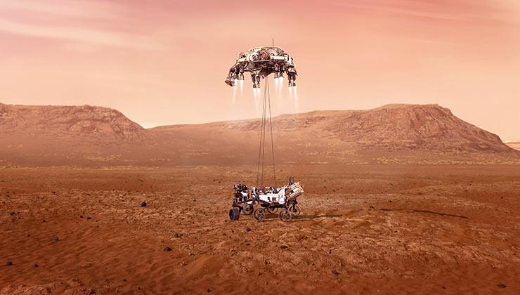 El Perseverance fue descendido a la superficie marciana mediante unos hilos de nylon (Foto: Ilustración Nasa).
