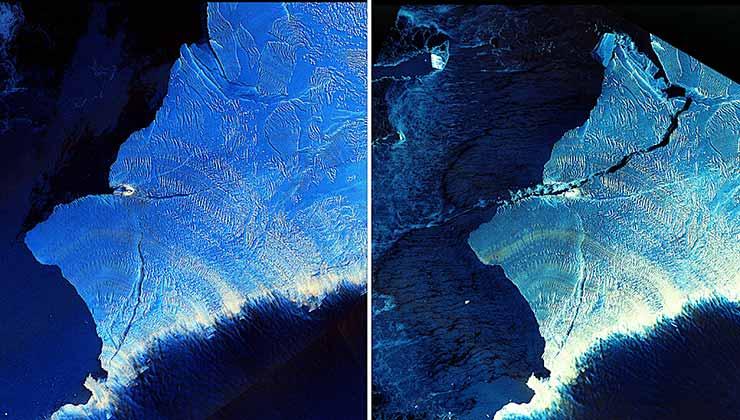 Gran desprendimiento de hielo detectado en la Antártida por el satélite SAOCOM 1A (Foto Comisión Nacional de Actividades Espaciales de Argentina).