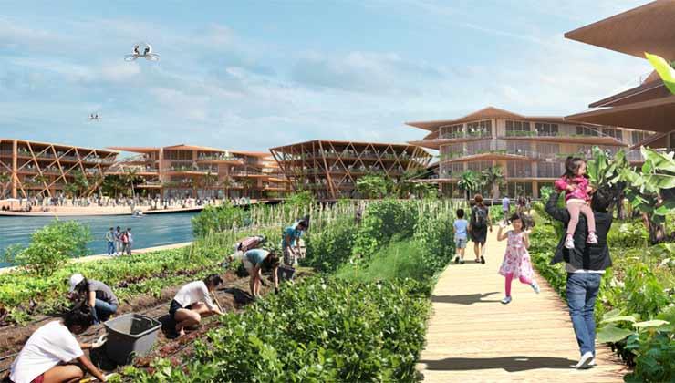 Este modelo de ciudades está pensado para ser autosuficiente y ecológicamente amigable (Foto de Oceanix City).