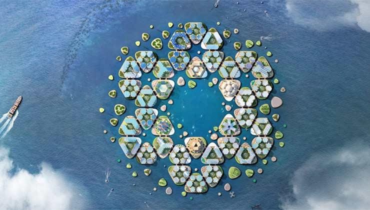 Oceanix City está planteada para desarrollarse en el mar (Foto de Oceanix City).