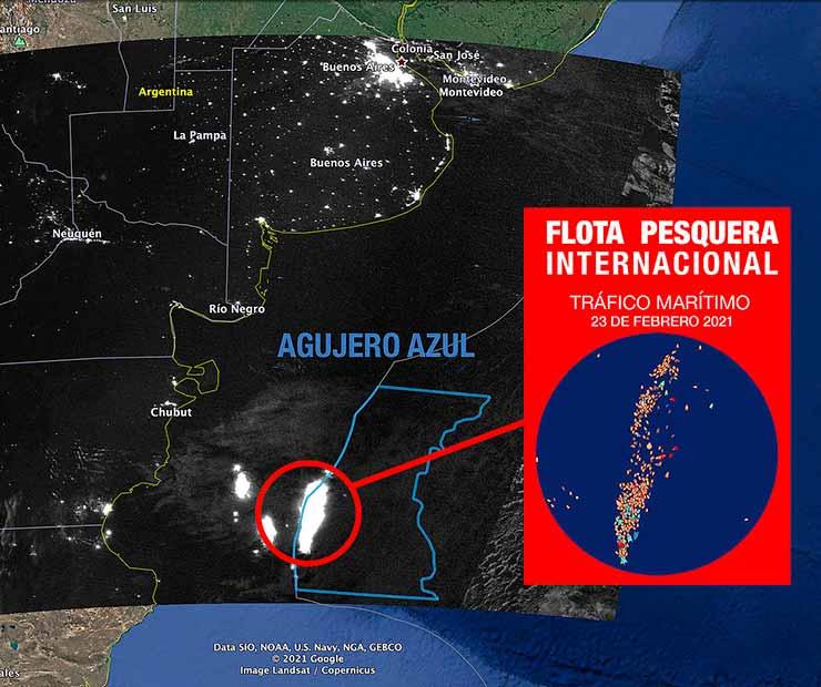 Las embarcaciones pesqueres emiten más luminosidad que la capital de la Argentina (Foto Greenpeace).