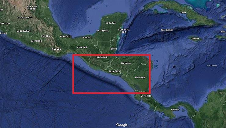 El corredor seco abarca una buena porción de Centroamérica (Google Maps).