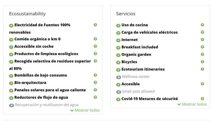 Ecobnb muestra qué características de alojamiento sustentable cumple el hospedaje (Foto: captura de pantalla).