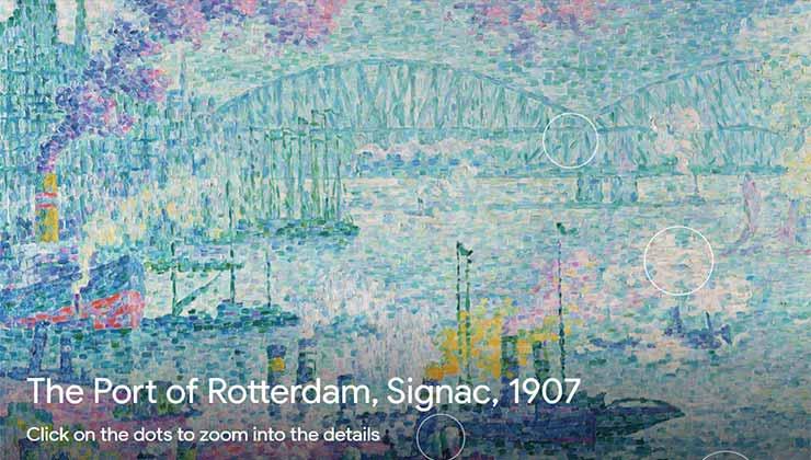 El sitio tiene una selección de fotos en alta definición sobre obras únicas (Captura de pantalla).