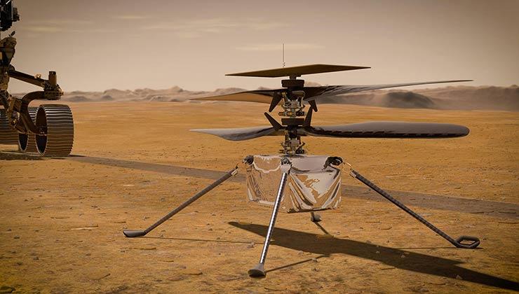 Los sonidos producidos por el vuelo del Ingenuity sirven para estudiar la atmósfera marciana (Foto: Nasa).